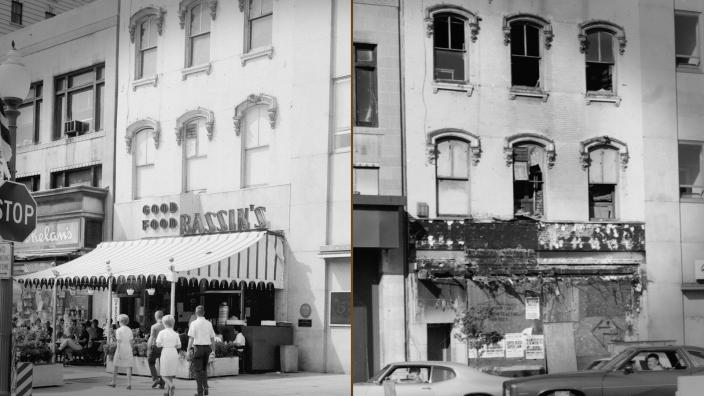 Bassin's store front before and after arson.