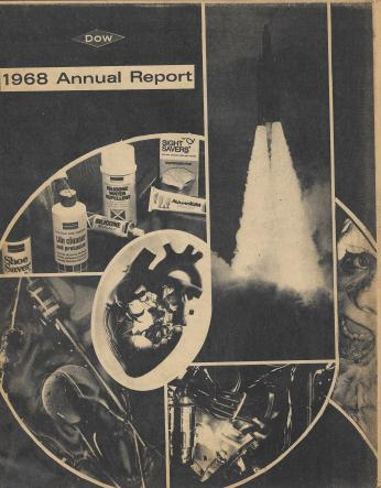 Photo collage made from the Dow Chemical yearly report and pictures depicting the effects of napalm (photo courtesy of Joann Malone)