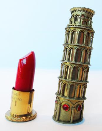 A tube of lipstick that looks like the Leaning Tower of Pisa