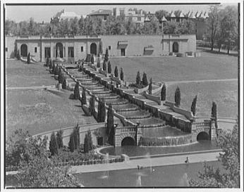 View of fountain at Meridian Hill Park, 1920