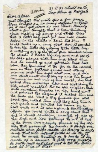 """Letter from Woody Guthrie to Alan Lomax, September 19, 1940 (Library of Congress)."