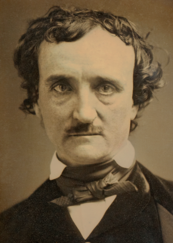 """Daguerreotype of Edgar Allan Poe, known as the ""Annie"" Daguerreotype,"" 1849, https://en.wikipedia.org/wiki/Edgar_Allan_Poe#/media/File:Edgar_Allan_Poe_daguerreotype_crop.png"