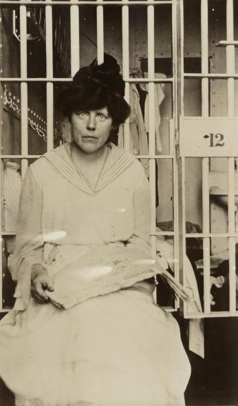 Lucy Burns at Occoquan Workhouse, 1917. (Source: Library of Congress)