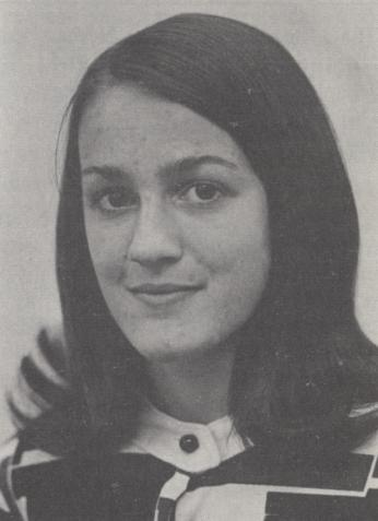 Portrait of Marla Angermeier, the first woman accepted to the College, as printed in the September 1972 issue of Georgetown Today.