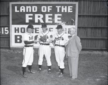 Three members of the all-white Hagerstown Braves at Municipal Stadium, 1952. (Credit: Washington County Free Library/Western Maryland Room)