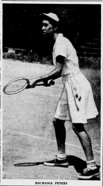 Newspaper photo of Roumania Peters standing on a tennis court with her racket.