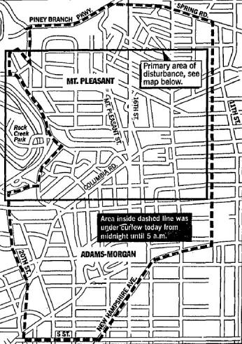 Map showing curfew area implemented by Mayor Dixon and the Metropolitan Police Department during riots. (Source: Washington Post, May 7, 1991)