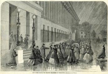 February 18, 1865 Harpers Weekly print of female clerks leaving the Treasury Department.