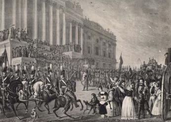Sketch of President Harrison's inauguration March 4, 1841. (Source: Library of Congress)