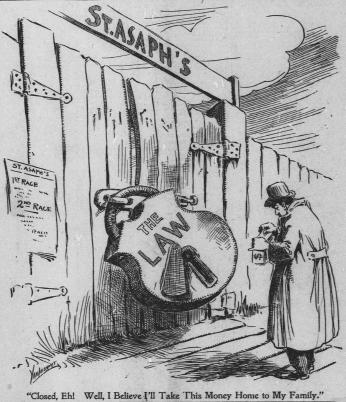 A cartoon comments on the closing of St. Asaph (Source: Washington Times, January 13, 1905)