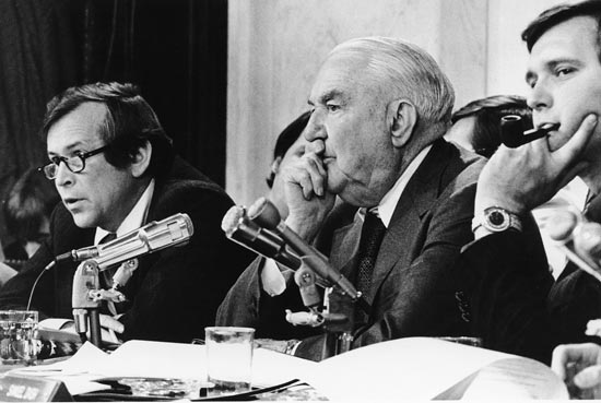 Senate Watergate Committee chairman Sam Ervin (center) and other committee members listen to testimony. (Photo source: WETA Archives)