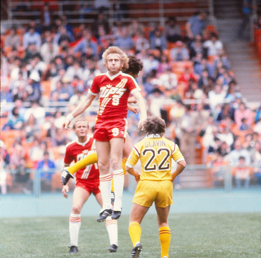 "The Washington Diplomats sported bright red uniforms emblazoned with the abbreviated team name, ""Dips."" (Source: nasljerseys.com)"