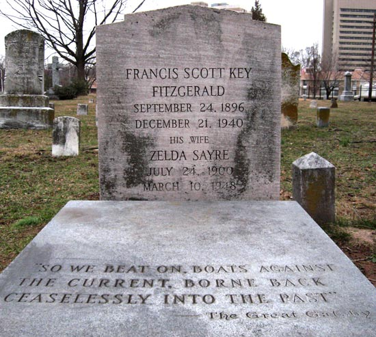 Grave of F. Scott Fitzgerald and his wife, Zelda in Rockville's St. Mary's cemetery. (Source: Wikipedia)