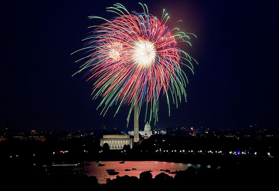 Fourth of July fireworks over National Mall. (Photo source: Library of Congress on Flickr)