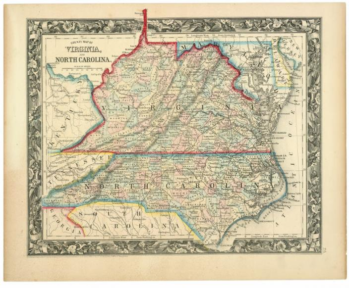 1860 County map of Virginia, and North Carolina. (Source: Library of Congress)