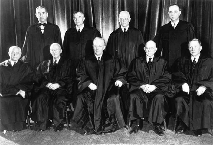 Portrait of the nine members of the Warren Court, who decided the Brown cases