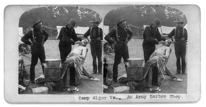 An army barber shop at Camp Alger during the Civil War. (Source: Library of Congress)
