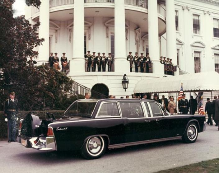 You may have assumed that the Presidential limosine that carried President Kennedy through Dallas on November 22, 1963 was taken out of service after the assassination... But that would be incorrect. Four more presidents used it afterwards. The photo above is from LBJ's term. (Photo source: Flickr user That Hartford Guy via Creative Commons license.)