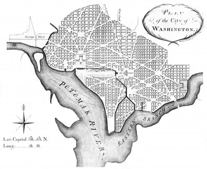 1792 map showing route of the Washington City Canal (Source: Wikipedia)
