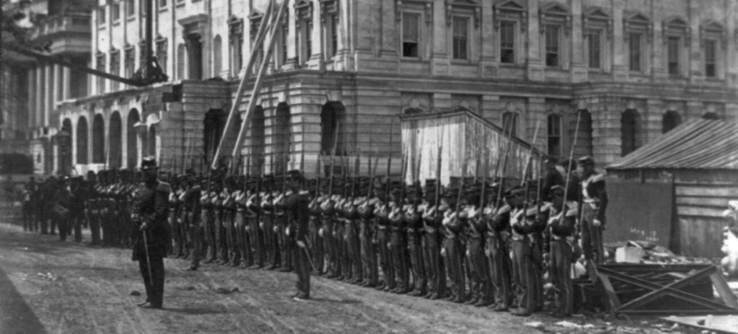 Civil War Troops outside U.S. Capitol in 1861. (Source: Library of Congress)