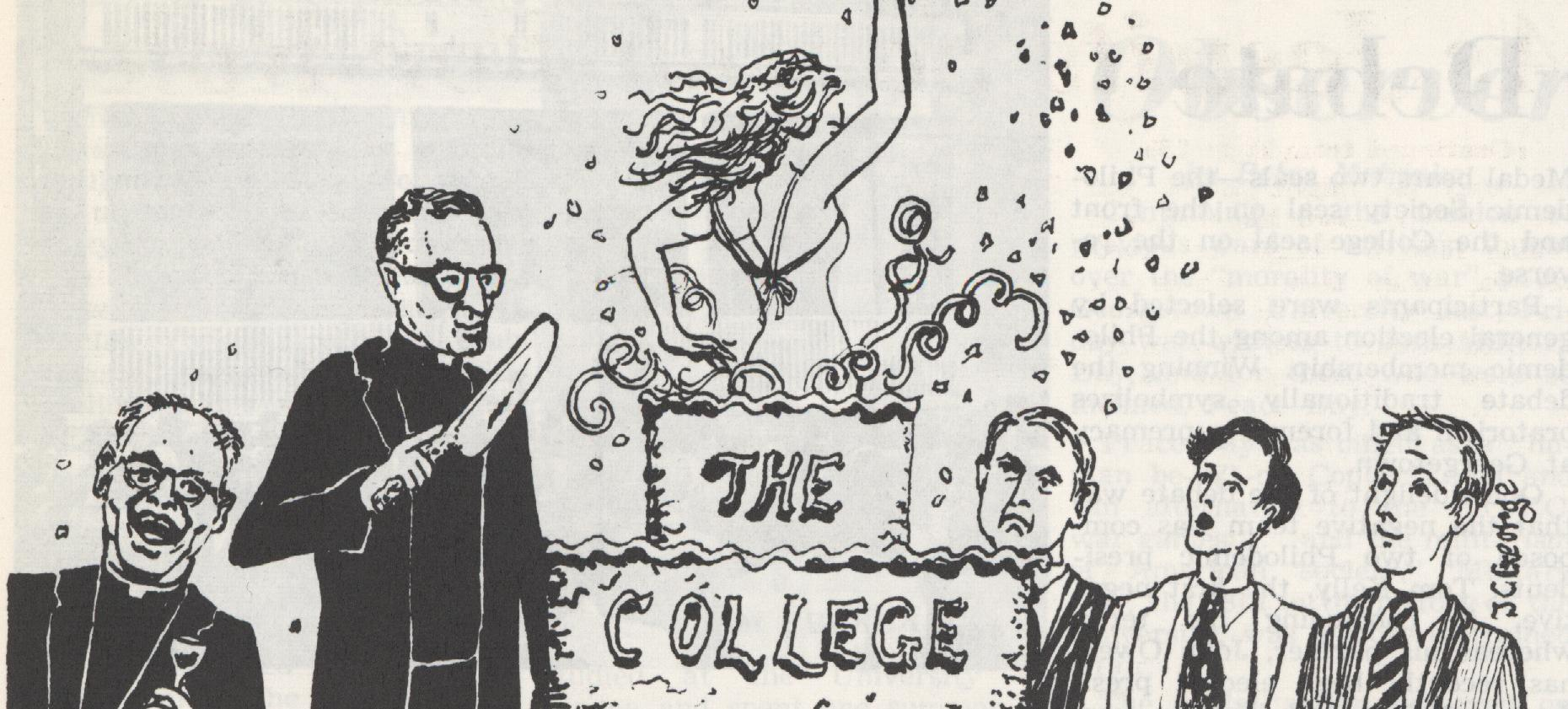 Cartoon from a 1968 issue of The Hoya, depicting a female student jumping out of a cake.