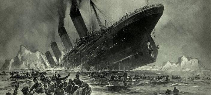 The sinking of the RMS Titanic, as envisioned by Willy Stöwer. (Credit: Wikimedia Commons)