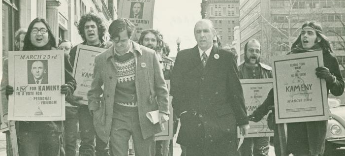 Frank Kameny marches with campaign volunteers