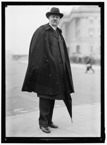 Photograph of Senator Augustus Bacon outside the Capitol building