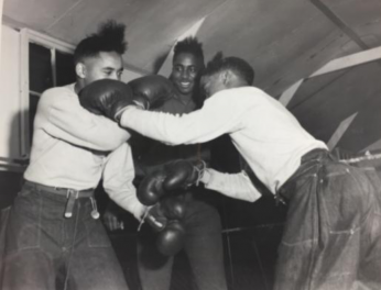 CCC enrollees boxing. (Source: National Archives at College Park)