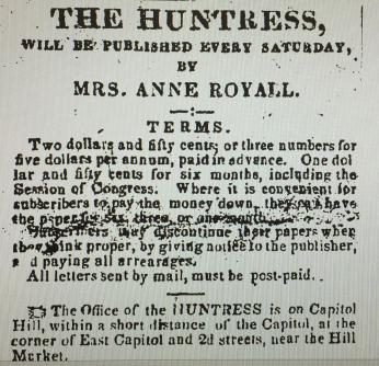 Image of the The Huntress, newspaper by Anne Royall