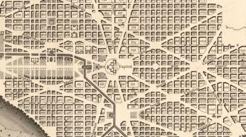 Early map of DC showing the diagonal avenues named for states