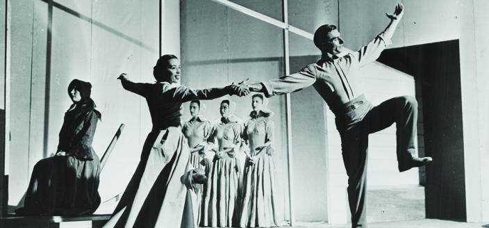 "The Martha Graham Dance Company performs ""Appalachian Spring"" on the stage of the Library's Coolidge Auditorium on Oct. 30, 1944. The Elizabeth Sprague Coolidge Foundation Collection, Music Division. https://blogs.loc.gov/loc/2014/10/documenting-dance-the-making-of-appalachian-spring/"