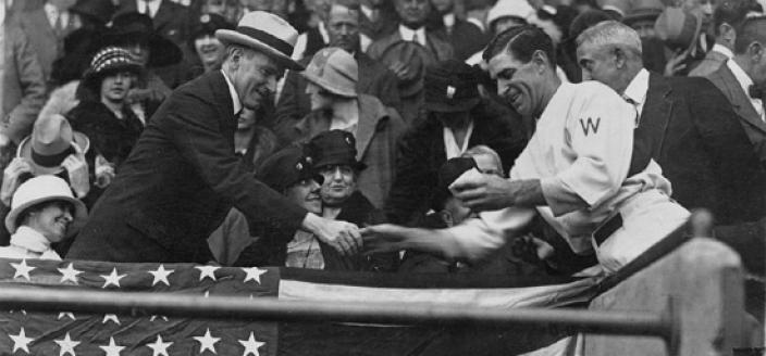 Washington Senators player-manager Bucky Harris presents a ball to Presisdent Calvin Coolidge at the 1924 World Series. Up until now, photos like this and newspaper accounts were really the only sources baseball fans could rely upon to recapture the spirit of Washington's championship. (Photo source: Library of Congress.)