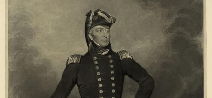 Portrait of Admiral Cockburn standing in front of a burning Washington