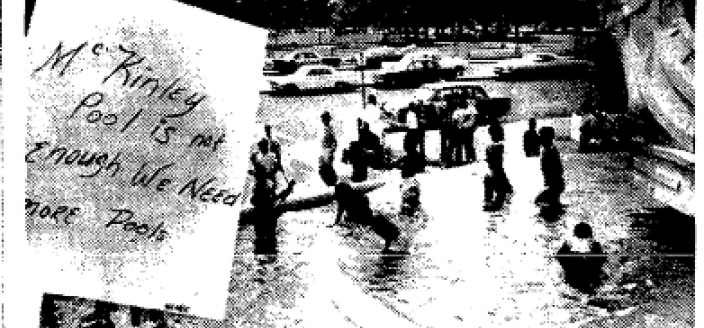 Children splash in the fountain at Columbus Circle to protest a shortage of pools in Washington, D.C.