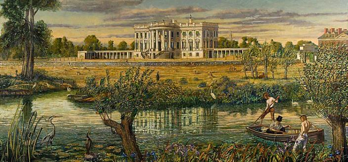 Peter Waddell painting of the Tiber Creek outside the White House, painted in 2009