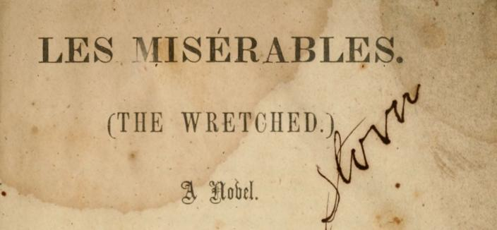 Cover page from West & Johnston translation of Les Miserables, which was distributed to Confederate soldiers during the Civil War. (Source: Hathi Trust)