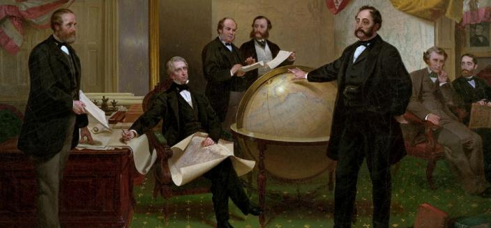 """Signing of the Alaska Treaty,"" a famous painting by Emanuel Leutze, depicts Seward and Stoeckl negotiating the Alaska purchase in the State Department on March 30, 1867."
