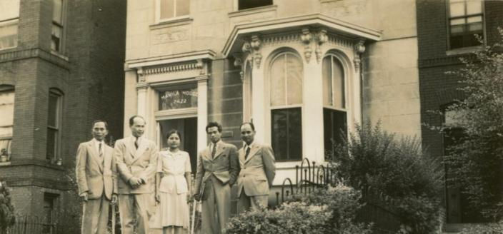 Filipino family in front of a house (Source: University of Maryland Libraries, Special Collections)