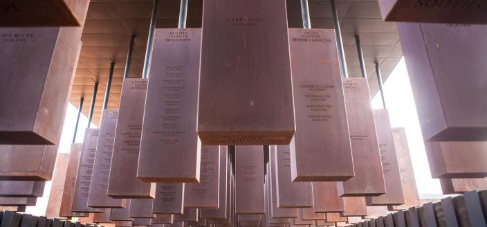 Memorial Corridor at The National Memorial for Peace and Justice in Montgomery, Alabama. (Credit: Soniakapadia via Wikimedia Commons. Used via Creative Commons Attribution-Share Alike 4.0 International license.)