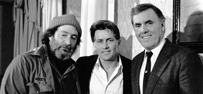 Homeless Advocate Mitch Snyder, Actor Martin Sheen, Boston Mayor Raymond L. Flynn, January 1987 (Source: Boston Mayor's Office, via Wikipedia)