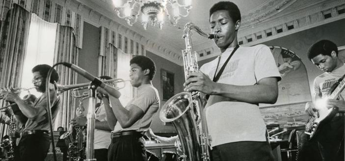 Students participating in the Summer Jobs Program by preforming in the jazz band.  (Photo Source: Washington Evening Star. Used with permission from the DC Public Library Washingtoniana Special Collection).
