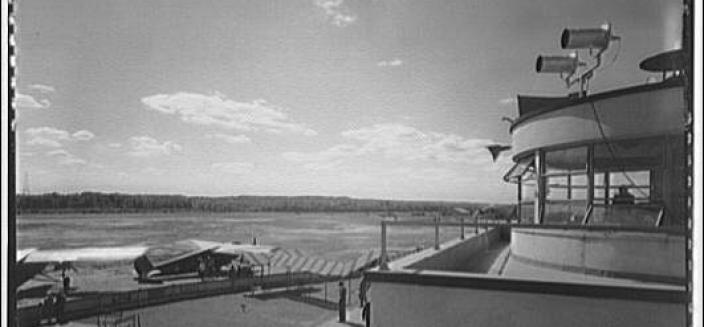 National Airport Tower and Landing Strip, circa 1950