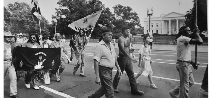 Native Americans march past the White House. (Reprinted with permission of the DC Public Library, Star Collection © Washington Post.)
