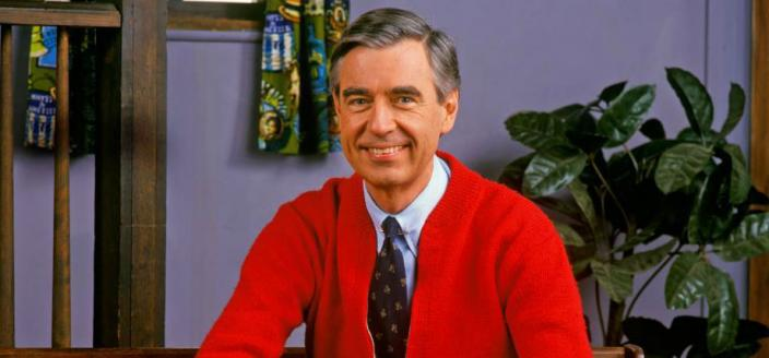 "Fred Rogers on the set of ""Mister Rogers' Neighborhood"" (Fred Rogers Company)"