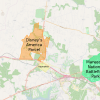 Map of Prince William County, Virginia illustrating the proposed location of Disney's America (orange) in relation to the town of Haymarket (below the park in yellow) and the Manassas National Battlefield Park (to the right in green). [Source: Wikimedia Commons]