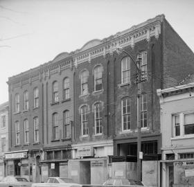 Historic American Buildings Survey photo of Appich Buildings, 408-414 King Street which were among the buildings demolished during Alexandria's Urban Renewal project. (Source: Library of Congress)