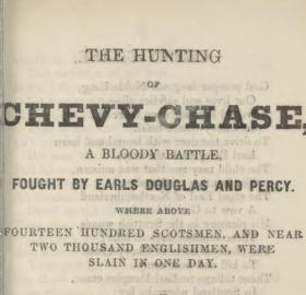 "The title page of a nineteenth century book of ballads containing ""the Ballad of Chevy Chase"""