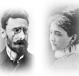 Portrait images of Joseph Pulitzer, left, and Kate Davis, right.
