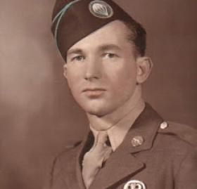 "Forrest ""Lefty"" Brewer, pictured here in military uniform, was a minor league baseball player and paratrooper involved in D-Day during World War II. (Photo Credit: Gary Bedingfield, ""Baseball in Wartime"")"